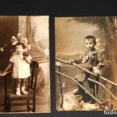 Fotografía antigua: CONJUNTO DE CARTAS DE VISITA - TARJETAS POSTAL - FOTOGRAFÍA ANTIGUA - NIÑA Y NIÑO. Lote 197665192