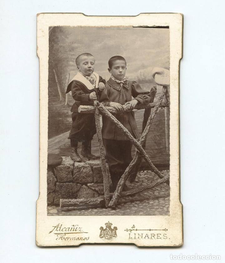 PAREJA DE NIÑOS, FOTO : ALCAÑÍZ HERMANOS, LINARES. CDV (Fotografía Antigua - Cartes de Visite)