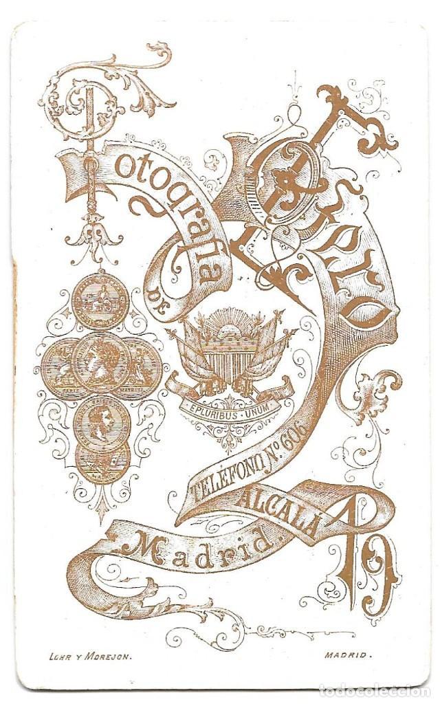 Fotografía antigua: 1880 ca Fotografía carte de visite albumina CDV 60x105mm Fotógrafo E. Otero Madrid - Foto 2 - 201103852