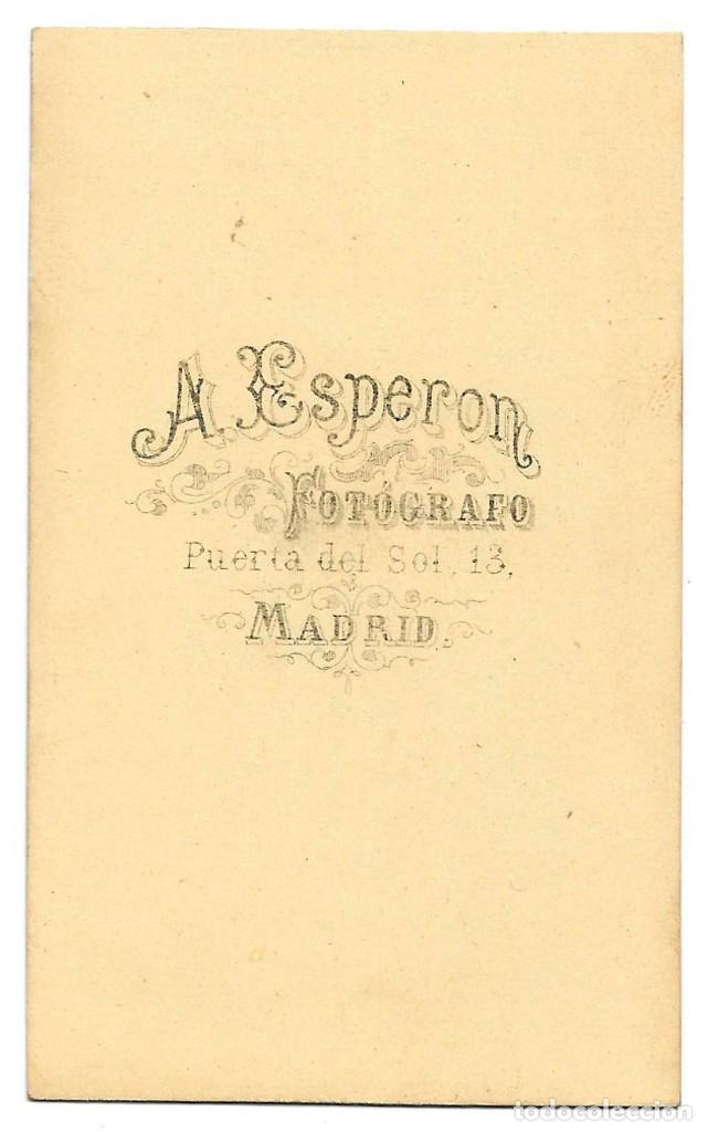 Fotografía antigua: 1875 ca Fotografía carte de visite albumina CDV 60x105mm Fotógrafo A. Esperon Madrid - Foto 2 - 201107413
