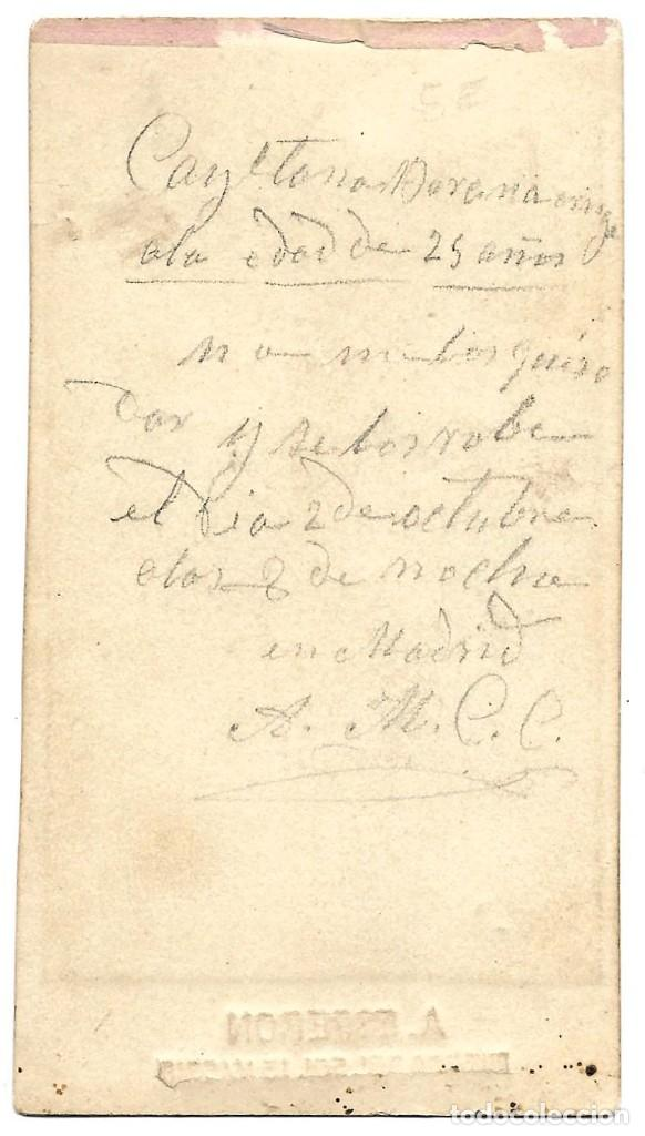 Fotografía antigua: 1878 ca Fotografía carte de visite albumina CDV 60x105mm Fotógrafo A. Esperon Madrid - Foto 2 - 229279335