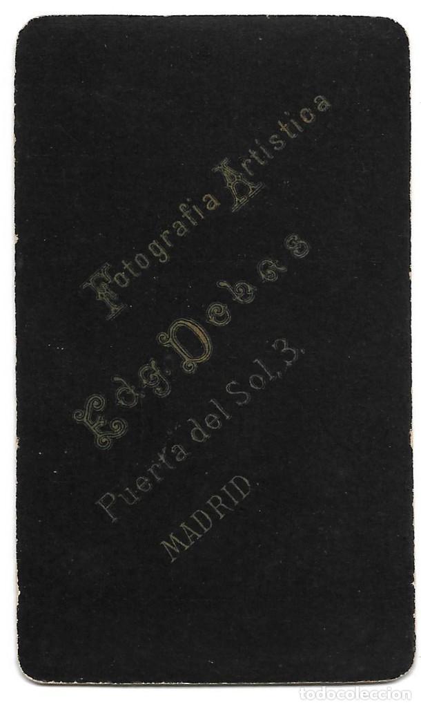 Fotografía antigua: 1880ca Fotografía carte de visite albumina CDV Fotógrafo EDGARDO DEBAS Madrid - Foto 2 - 201114911