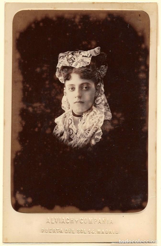1878CA FOTOGRAFÍA CARTE DE VISITE ALBUMINA CDV CABINET FOTÓGRAFO ALVIACH MADRID. (Fotografía Antigua - Cartes de Visite)
