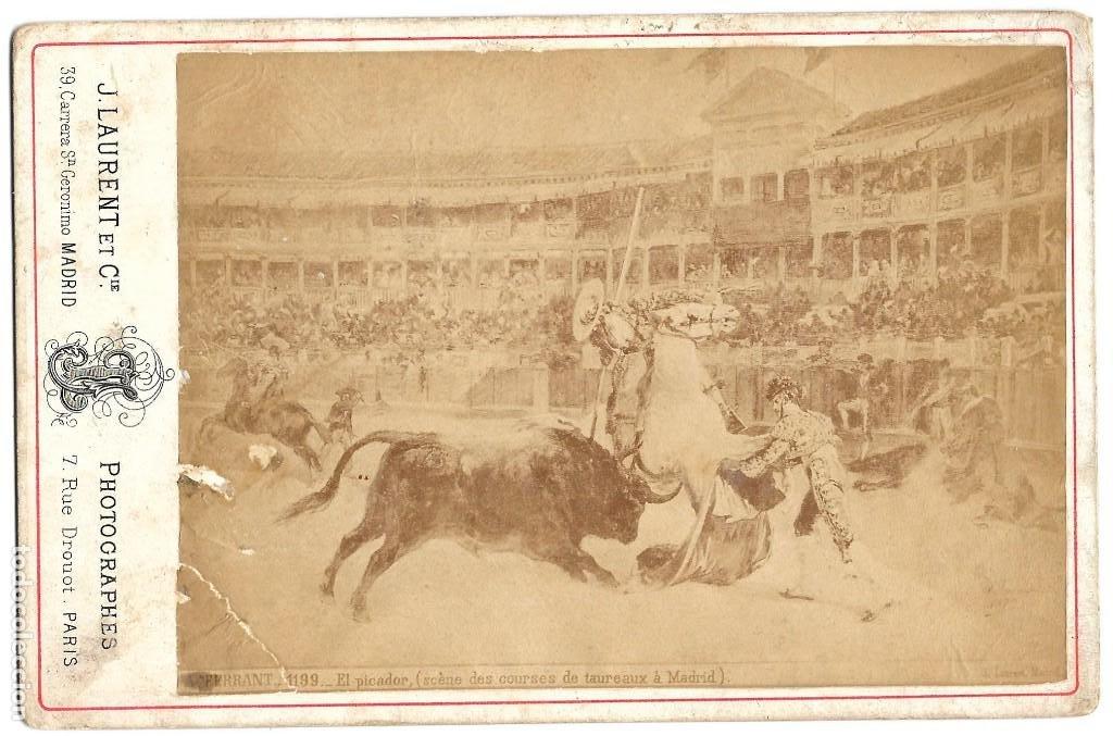 1876 CA FOTOGRAFÍA CARTE DE VISITE CDV TIPO CABINET (J. LAURENT) TAUROMAQUIA. CORRIDA DE TOROS (Fotografía Antigua - Cartes de Visite)