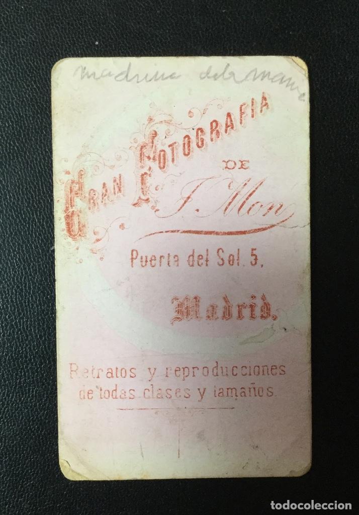 Fotografía antigua: CARTE DE VISITE MADRID, GRAN FOTOGRAFÍA DE J. MON , FINAL DEL XIX - Foto 2 - 203359151