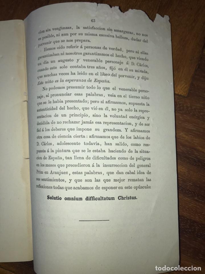 Fotografía antigua: 1868. 2 CDV. CARLISMO. DON CARLOS DOÑA MARGARITA. LA SOLUCIÓN ESPAÑOLA 1868. - Foto 5 - 204635473