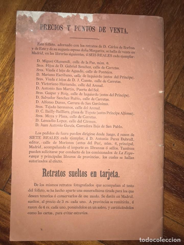 Fotografía antigua: 1868. 2 CDV. CARLISMO. DON CARLOS DOÑA MARGARITA. LA SOLUCIÓN ESPAÑOLA 1868. - Foto 6 - 204635473