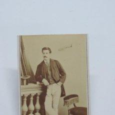 Fotografía antigua: FOTOGRAFIA ALBUMINA TIPO CDV DE CABALLERO DE FINALES DE SIGLO XIX, FOTO SOCIEDAD FOTOGRAFICA, MADRID. Lote 206419168