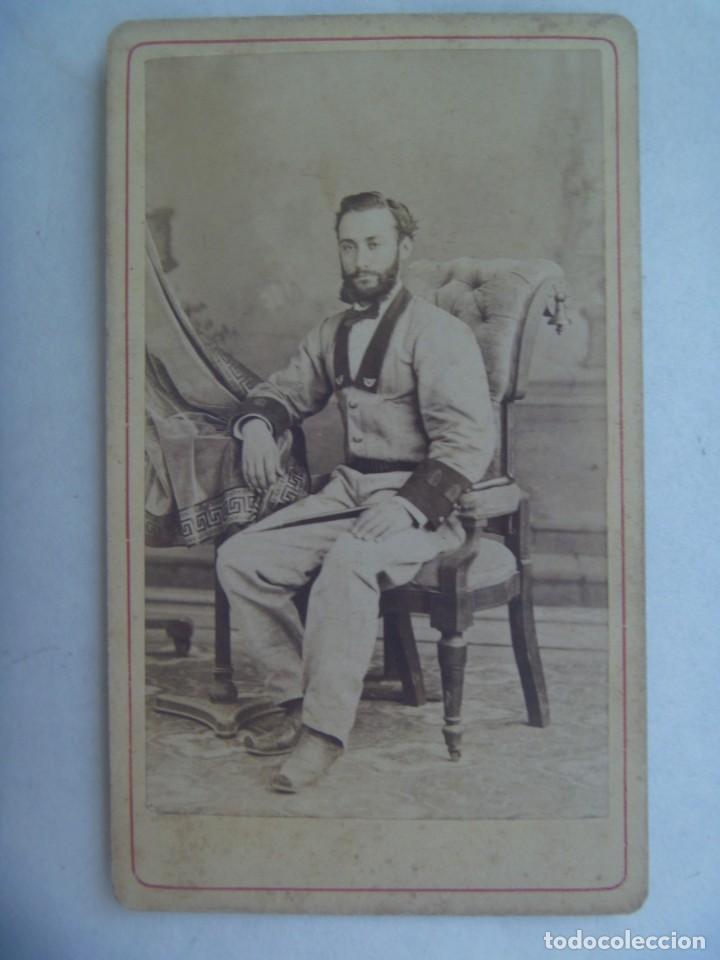 GUERRA DE CUBA : CDV DE MILITAR VOLUNTARIO DE CAZADORES, SIGLO XIX. DE E. MESTRE PETIT, HABANA (Fotografía Antigua - Cartes de Visite)