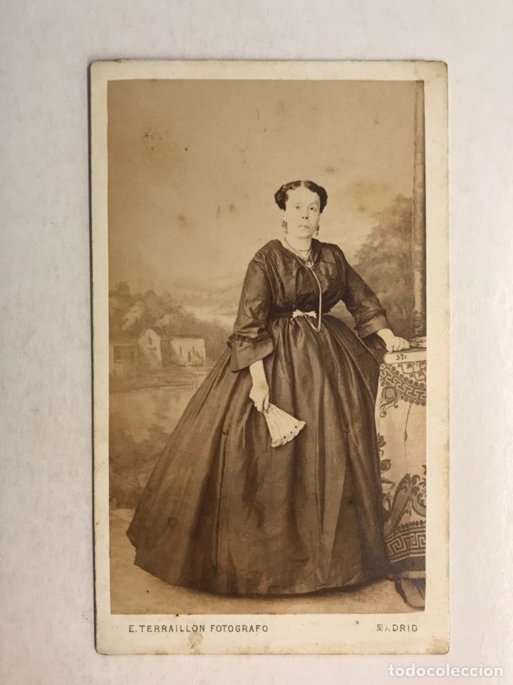 CDV CARTE DE VISITE, E. TERRAILLON, FOTOGRAFO DE PARIS. MADRID DAMA DE LA CORTE MADRILEÑA (H.1850?) (Fotografía Antigua - Cartes de Visite)