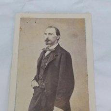 Fotografía antigua: FOTOGRAFIA ALBUMINA TIPO CDV DE CABALLERO, SIGLO XIX, FOTO JUAN HORTELANO, VALLADOLID, MIDE 10 X 6 C. Lote 214127948