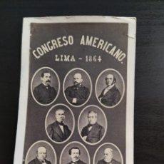 Fotografía antigua: CONGRESO AMERICANO, LIMA 1864.. Lote 214647171