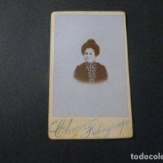 Fotografía antigua: ANTEQUERA MALAGA CHECA FOTOGRAFO RETRATO DE DAMA HACIA 1890 CARTE DE VISITE. Lote 217043202