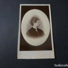 Fotografía antigua: GRANADA J. CAMINO FOTOGRAFO RETRATO DE DAMA HACIA 1875 CARTE DE VISITE. Lote 217043446