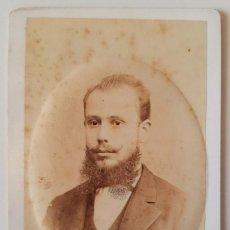 Fotografía antigua: ANTONIO GARCÍA. RETRATO DE HOMBRE JOVEN. HACIA 187O. CARTE DE VISITE. Lote 219749640