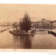 Fotografía antigua: CARTE DE VISITE GENEVE ET LE MONT-BLANC. PHOTOGRAPHE GARCIN. GENEVE. Lote 220845453