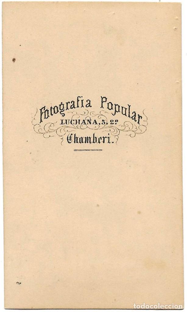 Fotografía antigua: 1870s CARTE DE VISITE ALBUMINA CDV FOTOGRAFÍA POPULAR, CHAMBERI, MADRID - Foto 2 - 228642750