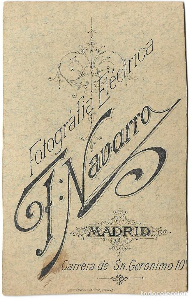 Fotografía antigua: 1870S CARTE DE VISITE ALBUMINA CDV FOTOGRAFÍA NAVARRO, MADRID - Foto 2 - 228794340