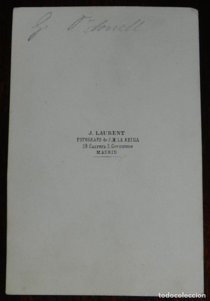 Fotografía antigua: CDV J. LAURENT, EL GENERAL O´DONELL, MIDE 10,5 X 6,5 CMS. - Foto 2 - 234364230