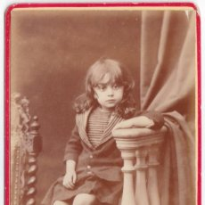 Fotografía antigua: BELLA CDV RET INFANTIL MARCELO DOMINGO FALLOLA MARQUES CH FIS MARTEL NEUILLY S/SEINE FRANCIA XIX AA. Lote 252001485