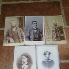 Photographie ancienne: LOTE 5 FOTOGRAFÍA CDV CON MÁS DE 100 AÑOS FOTO NIÑA NIÑO HOMBRE MUJER. Lote 252086045