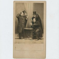 Fotografía antigua: CURIOSO RETRATO DE GRUPO, FOTO: M. BORDOY, CORUÑA. 1860'S.. Lote 254800685