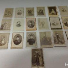 Fotografía antigua: LOTE DE 19 FOTOGRAFÍAS ANTIGUAS - CARTAS DE VISITA. Lote 258797460