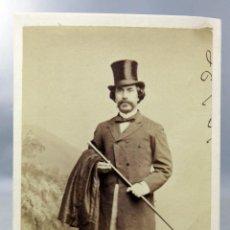 Fotografia antica: CARTE VISITE FOTOGRAFÍA CABALLERO SOMBRERO ESTUDIO NEW NUEVA ORLEANS USA DEDICADA 1870 S XIX. Lote 276498073