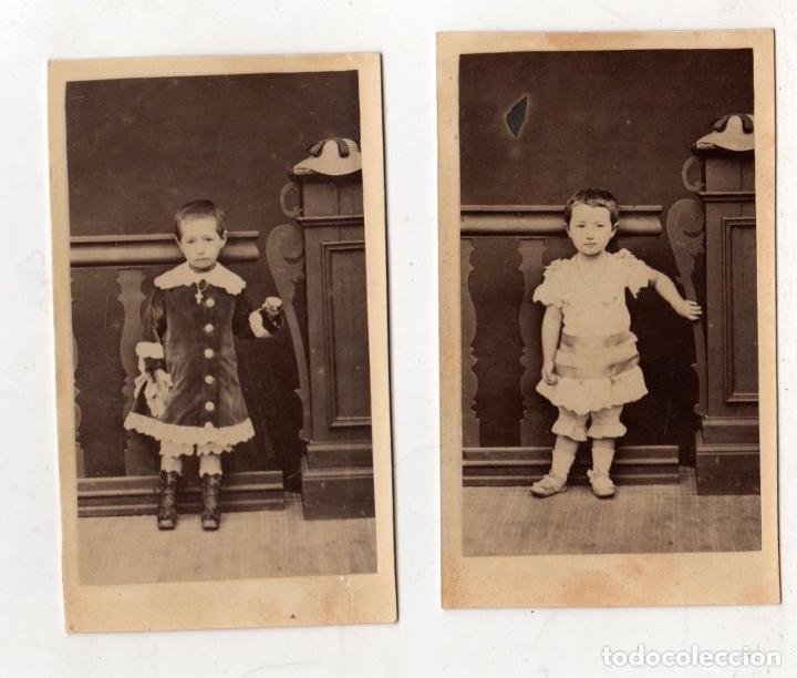 LOTE DE 2 FOTOGRAFIAS INFANTILES CARTES DE VISITE (Fotografía Antigua - Cartes de Visite)