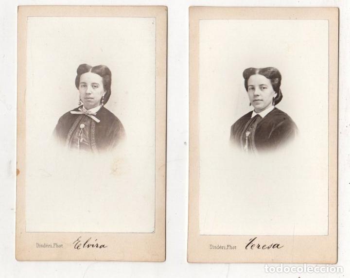 LOTE DE 2 FOTOGRAFIAS CARTES DE VISITE. DISDÉRI, PARIS (Fotografía Antigua - Cartes de Visite)