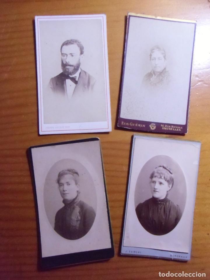 FRANCIA(3) Y BELGICA(1).LOTE 4 CARTES DE VISITA.HACIA 1880. (Fotografía Antigua - Cartes de Visite)