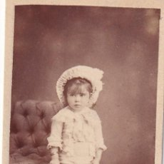 Fotografía antigua: ALBÚMINA RETRATO NIÑO CON JUGUETE. J. GENISCANS. ZARAGOZA, 12. VALENCIA. Lote 294452258