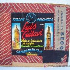 Fotografía antigua: DIAPOSITIVA DE PUBLICIDAD AÑOS 50 APROX: TALLER RELOJERIA LUIS CUITAVI, VALENCIA. Lote 21103413