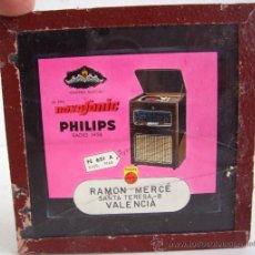 Fotografía antigua: DIAPOSITIVA DE PUBLICIDAD AÑOS 50/60 APROX: DIADEMA MUSICAL - LA ERA NOVOSONIC PHILIPS RADIO 1956. Lote 24023114