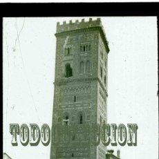 Fotografía antigua: + TERUEL. TORRE DE SAN MARTIN. HACIA 1920. ANTIGUA DIAPOSITIVA. CRISTAL ARAGON FOTO ORIGINAL. Lote 26920847