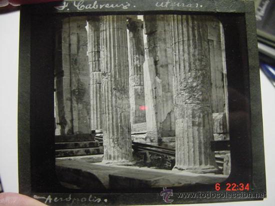 19 ATENAS GRECIA ACROPOLIS CRISTAL PARA LINTERNA MAGICA - AÑOS 1900 (Fotografía Antigua - Diapositivas)