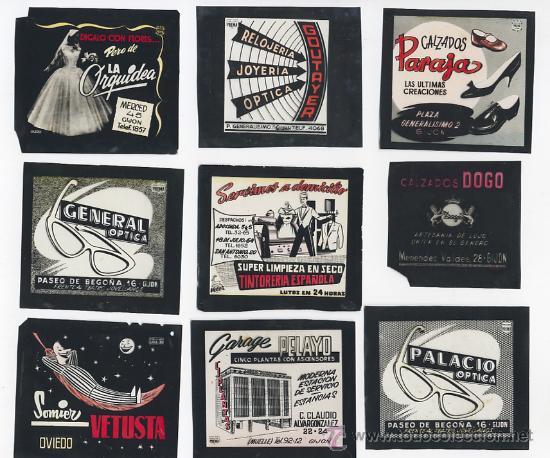 LOTE DE DOCE FILMINA DEPOSITIVA PUBLICIDAD OVIEDO GIJON ASTURIAS AÑOS 50 60 (Fotografía Antigua - Diapositivas)