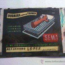 Fotografía antigua: DIAPOSITIVA PUBLICIDAD CAMAS SEMA, ALGEMESI, PARA CINE AÑOS 60 APROX (9X6CM APROX). Lote 28394585
