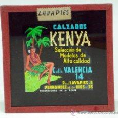 Fotografia antica: DIAPOSITIVA CRISTAL PUBLICIDAD CALZADOS KENYA LAVAPIÉS MADRID PROVEEDORES RENFE AÑOS 50 8 CM X 8 CM. Lote 31170987