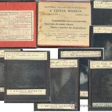 Fotografía antigua: MATERIAL PEDAGOGICO MODERNO J. ESTEVA MARATA PLAQUES POSITIVES CRISTAL 7 PLACAS Y CAJA. Lote 33726676