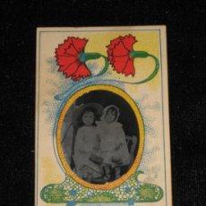 Fotografía antigua: FOTO CLICHÉ DE 5X9 CM INCLUIDO MARCO DE FLORES - NIÑOS. Lote 33746517