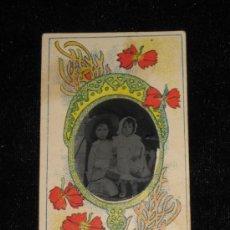 Fotografía antigua: FOTO CLICHÉ DE 5X9 CM INCLUIDO MARCO DE FLORES - NIÑOS. Lote 33746522
