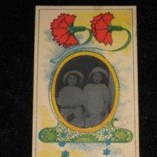 Fotografía antigua: FOTO CLICHÉ DE 5X9 CM INCLUIDO MARCO DE FLORES - NIÑOS. Lote 33746540