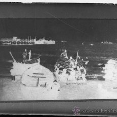 Fotografía antigua: PLACA FOTOGRAFICA ORIGINAL CRISTAL CARGA DE LA NARANJA PLAYA GRAO DE CASTELLON TAMAÑO 6X9A. Lote 36418111