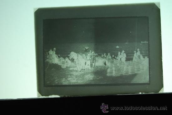 PLACA FOTOGRAFICA ORIGINAL CRISTAL BARCAS CARGA DE NARANJA PLAYA GRAO DE CASTELLON TAMAÑO 6X9A (Fotografía Antigua - Diapositivas)