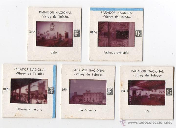 5 DIAPOSITIVAS PARADOR NACIONAL 'VIRREY DE TOLEDO' OROPESA, TOLEDO. (Fotografía Antigua - Diapositivas)