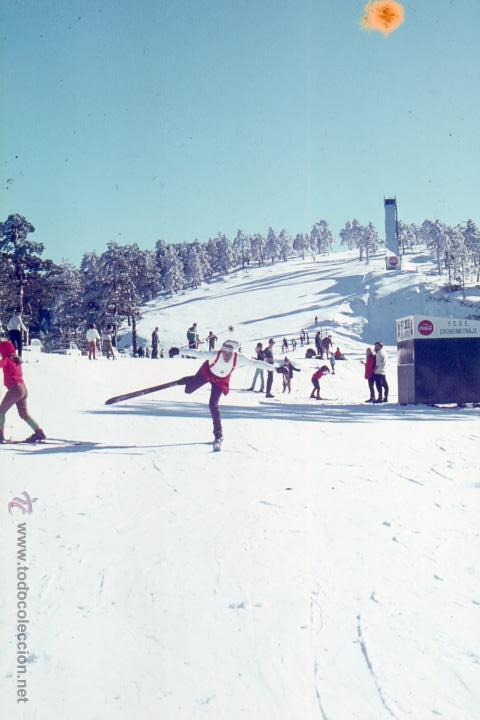 Fotografía antigua: Estación de esquí y tren Puerto de Navacerrada Madrid lote cinco diapositivas Agfacolor, Dic. 1969 - Foto 2 - 49602279