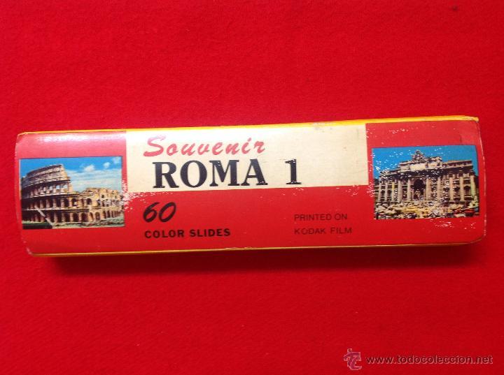 60 DIAPOSITIVAS SOUVENIR ROMA 1, REALIZADAS POR KODAK, EN SU ESTUCHE, VER FOTOS. (Fotografía Antigua - Diapositivas)