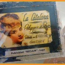 Diapositiva de cristal, publicidad cine, La Catalana peluquería, Guitiriz Lugo