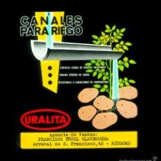 Fotografía antigua: CINE - PUBLICIDAD - URALITA - RIUDOMS - DIAPOSITIVA DE CRISTAL . Lote 59693347